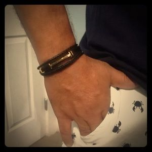 Men's  Leather and Steel, Wrist Band